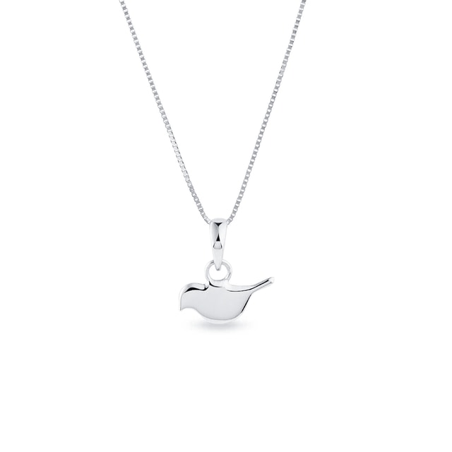 Bird pendant in white gold