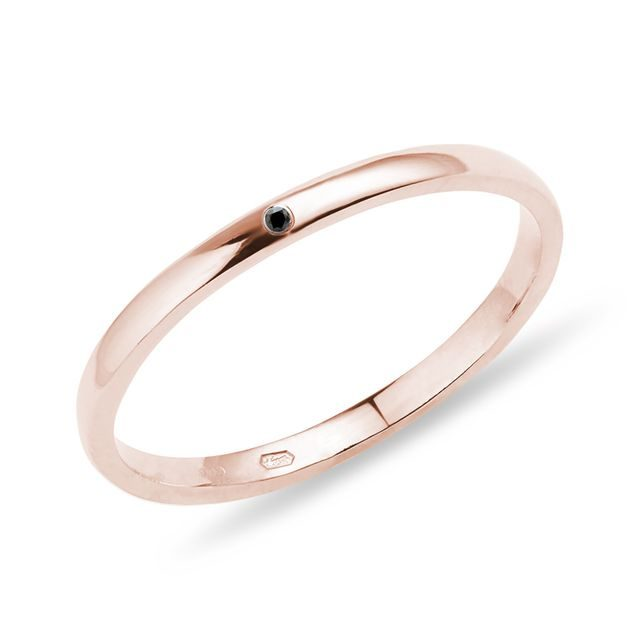 Black diamond ring in rose gold
