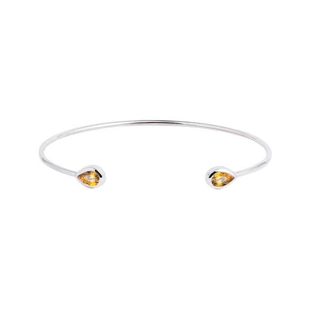 Minimalist gold bracelet with citrine