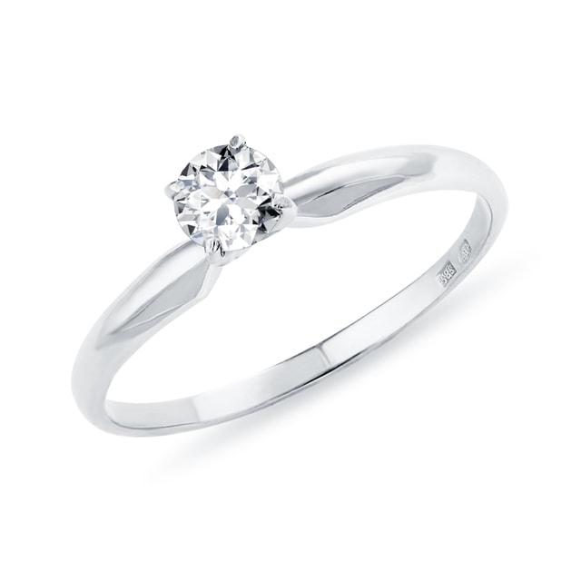 Solitaire or blanc et diamant 0.15 ct