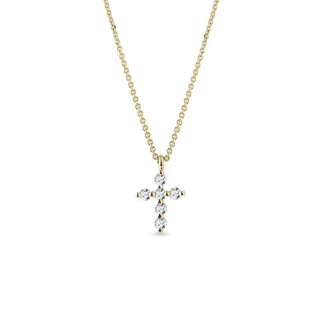 Diamond cross necklace in yellow gold