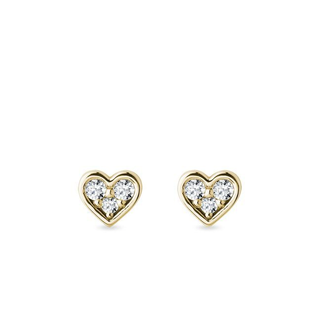 Heart earrings with diamonds in gold