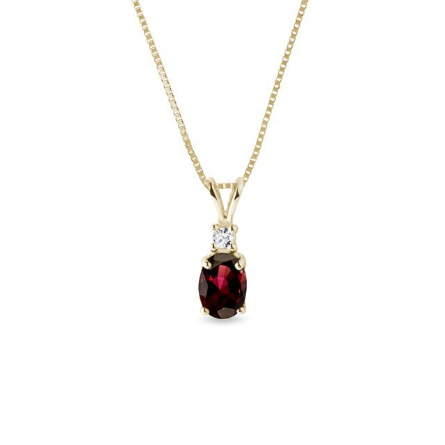 Garnet and diamond necklace in yellow gold