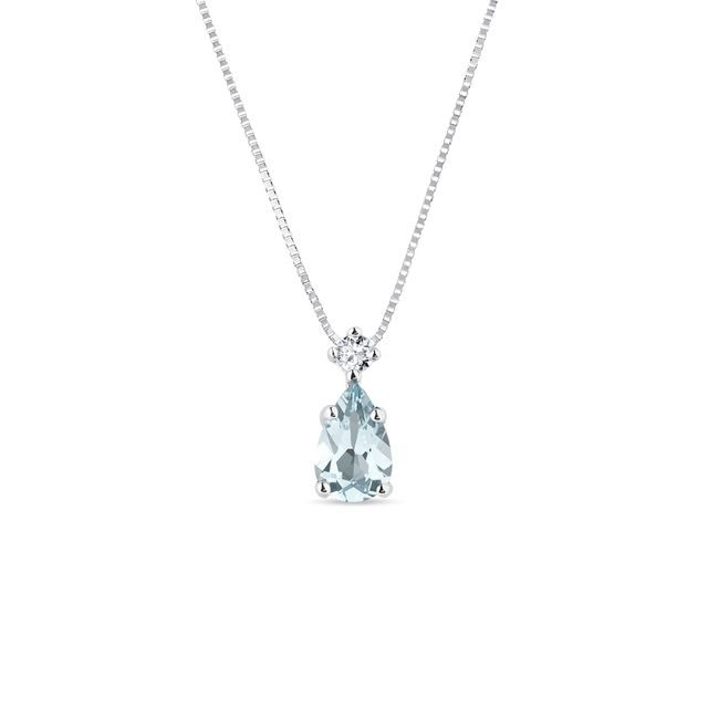 Aquamarine pendant in white gold