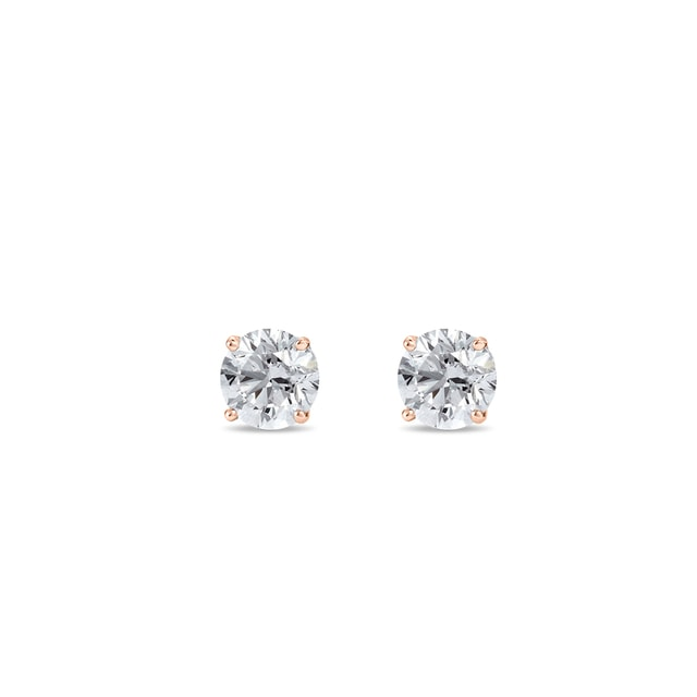 Diamond stud earrings in rose gold