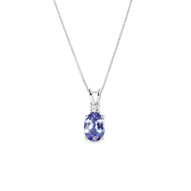 Collier en or blanc, tanzanite et diamant