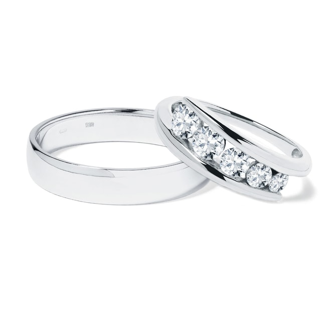 Alliances de mariage en or blanc et diamant