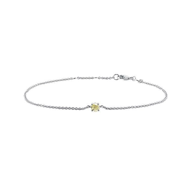 Yellow diamond bracelet in white gold