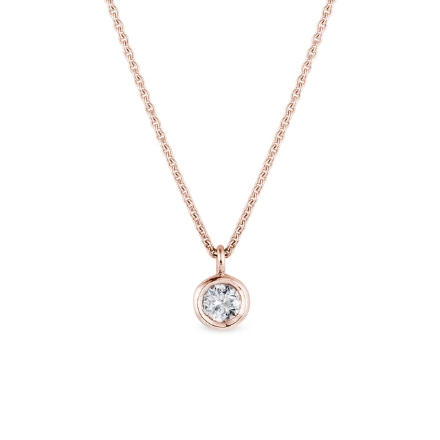 Bezel diamond pendant in rose gold