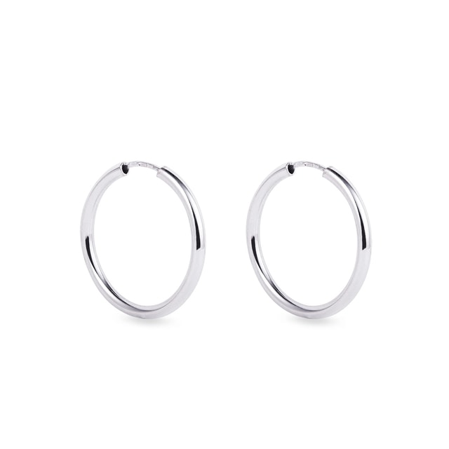 2 cm white gold hoop earrings
