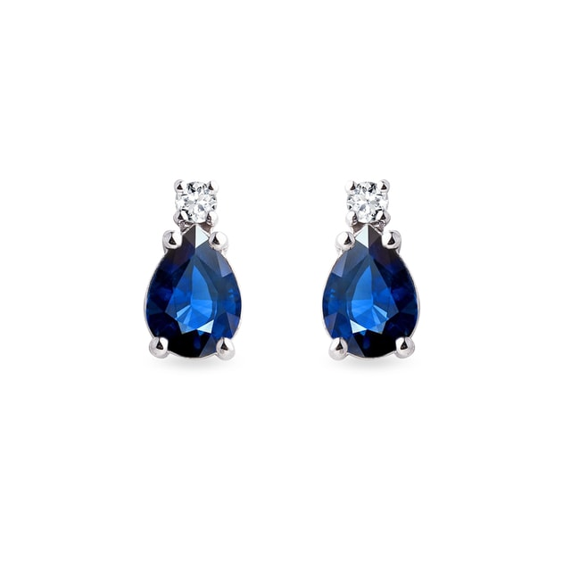 Diamond and sapphire earrings in white gold