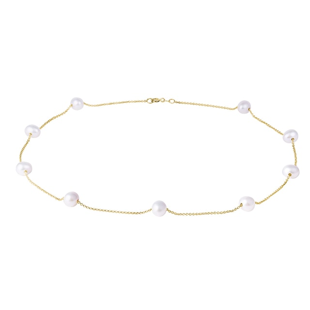 Modern pearl chain necklace in yellow gold