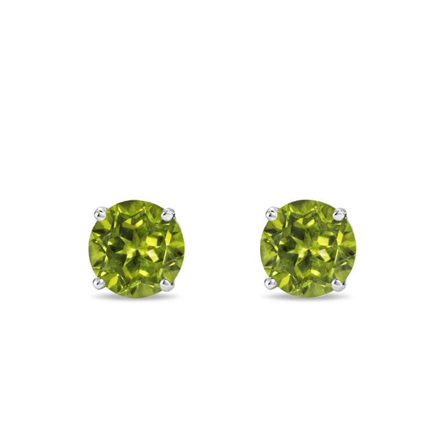 Olivine earrings in white gold