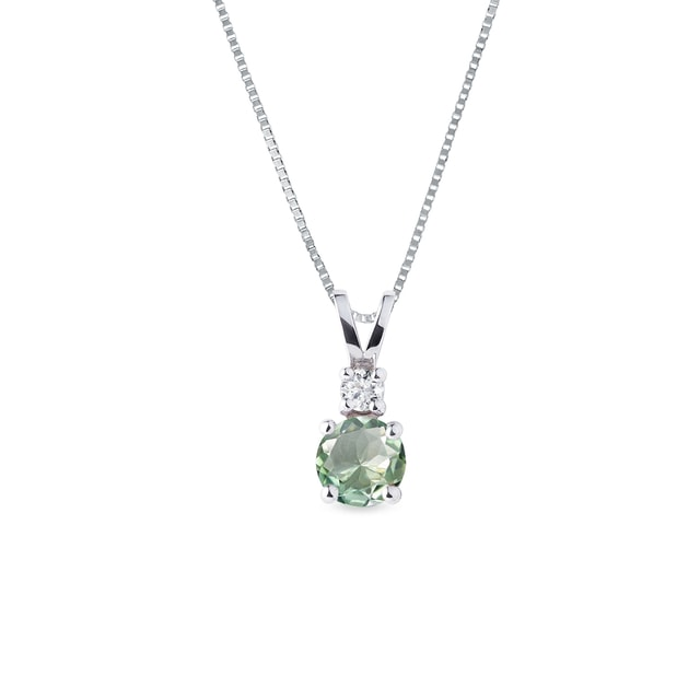 Green amethyst necklace in white gold