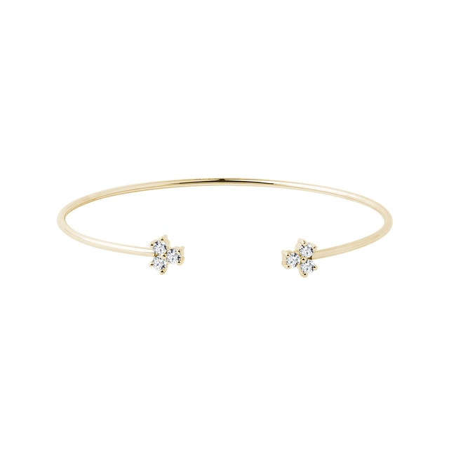 Bracelet en or jaune avec six diamants
