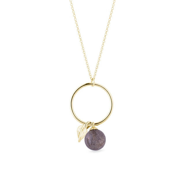 Labradorite and small leaf hoop necklace in yellow gold