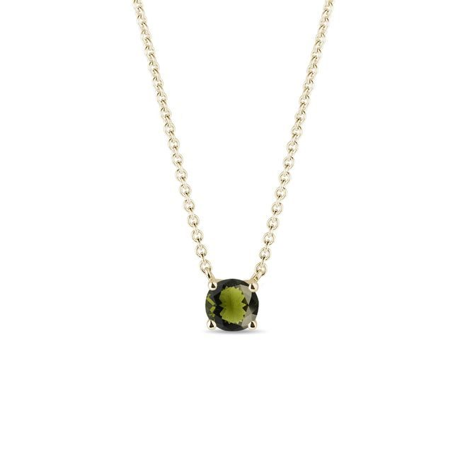 Green moldavite necklace in yellow gold