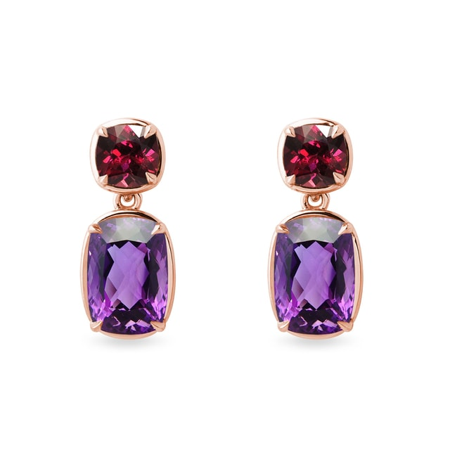 Amethyst and rhodolites earrings in rose gold