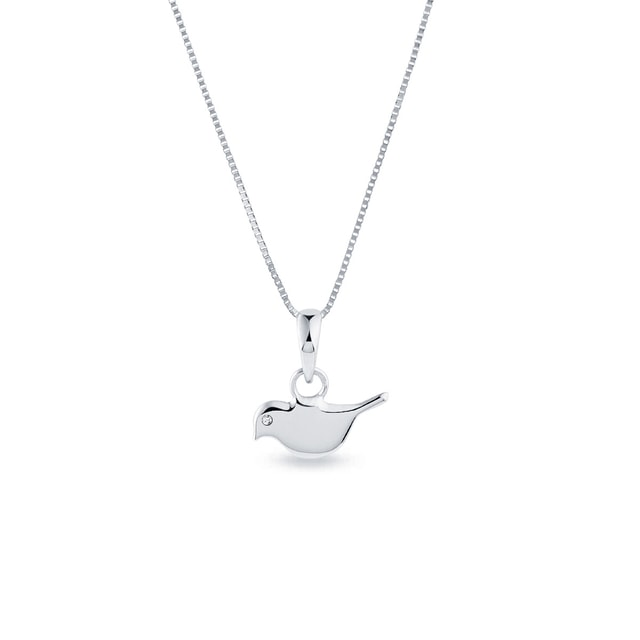 Bird-shaped pendant necklace in white gold