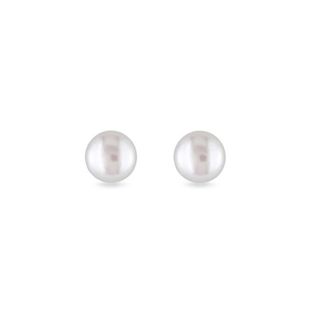 Freshwater pearl stud earrings in white gold