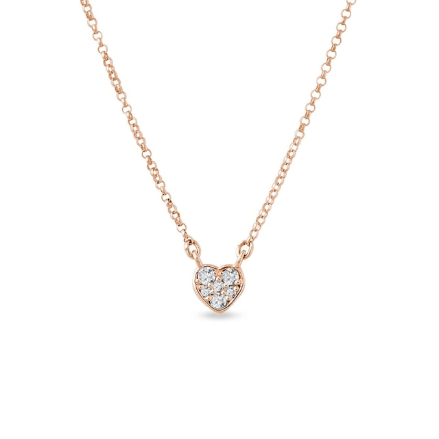 Heart charm with diamonds in rose gold
