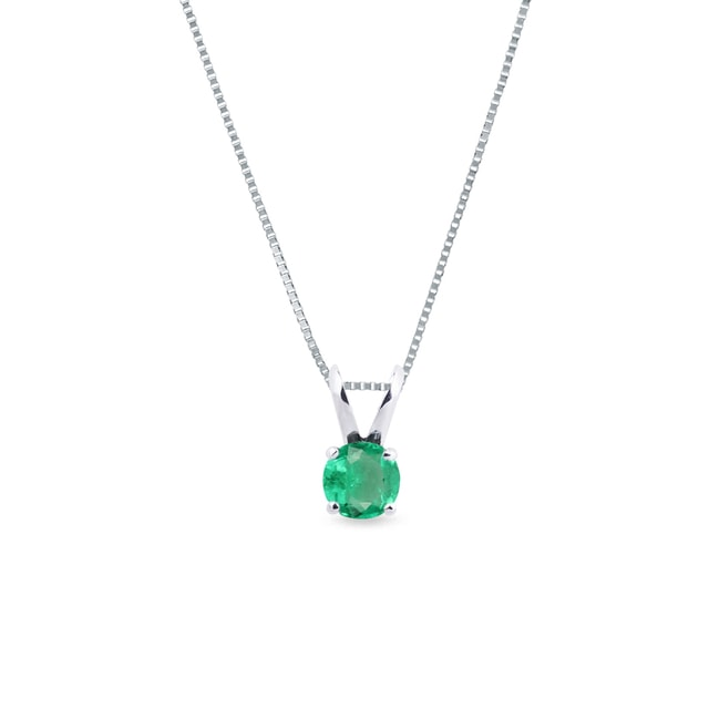 Emerald necklace in white gold