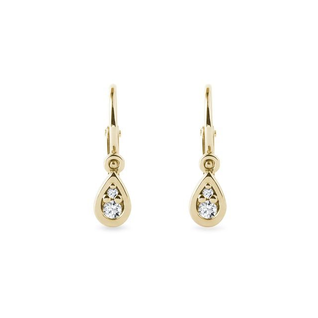 Children's drop earrings with diamonds in gold