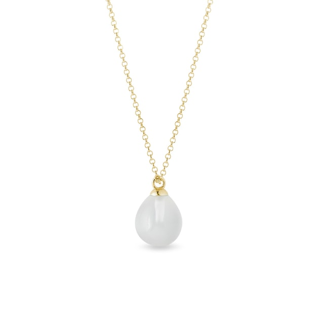 White moonstone necklace in yellow gold