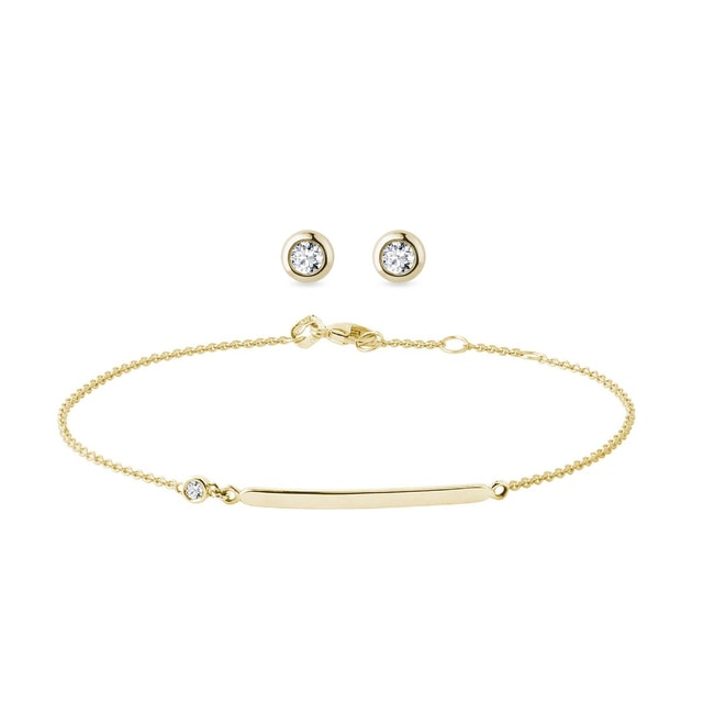 Boucles d'oreilles et bracelet en or et diamants