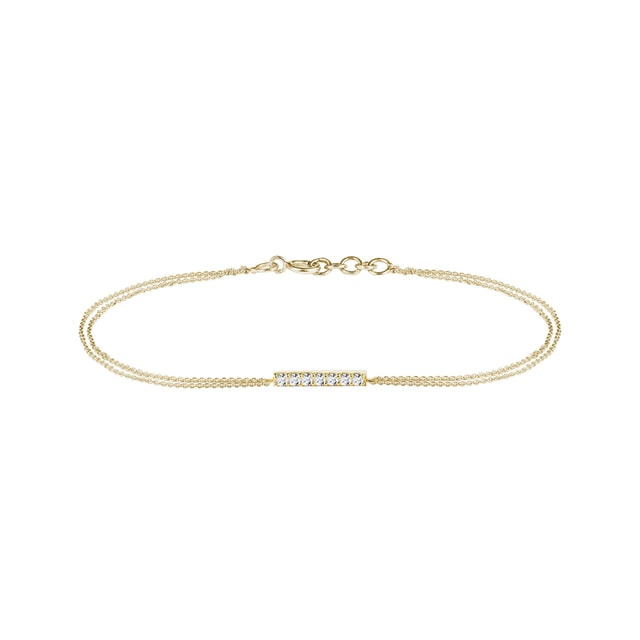 Diamond bar bracelet in yellow gold
