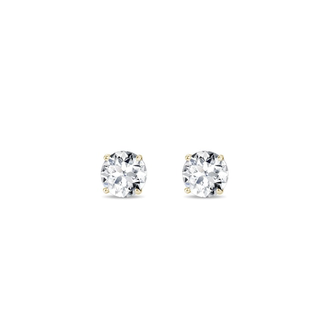 Puces en or jaune et diamant 0.2 ct