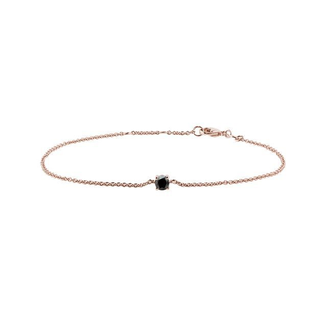 Black diamond bracelet in rose gold