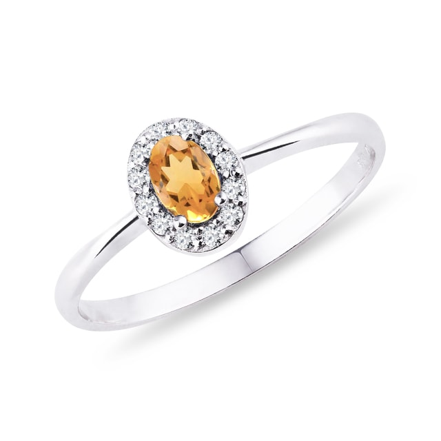 Citrin Ring mit Diamanten