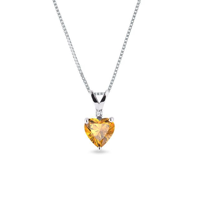Citrine and diamond pendant in 14kt gold