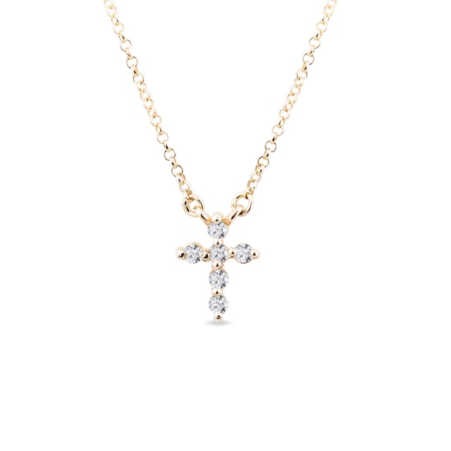 Gold cross with diamonds