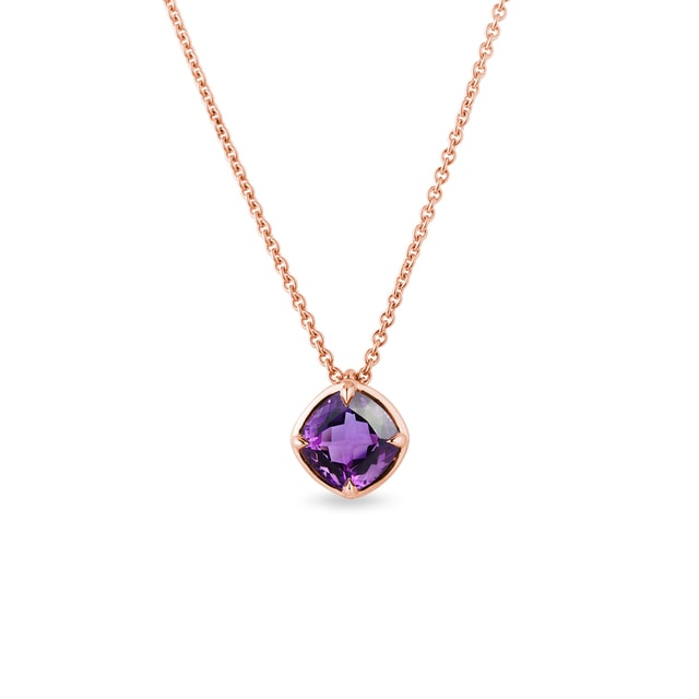 Amethyst necklace in rose gold