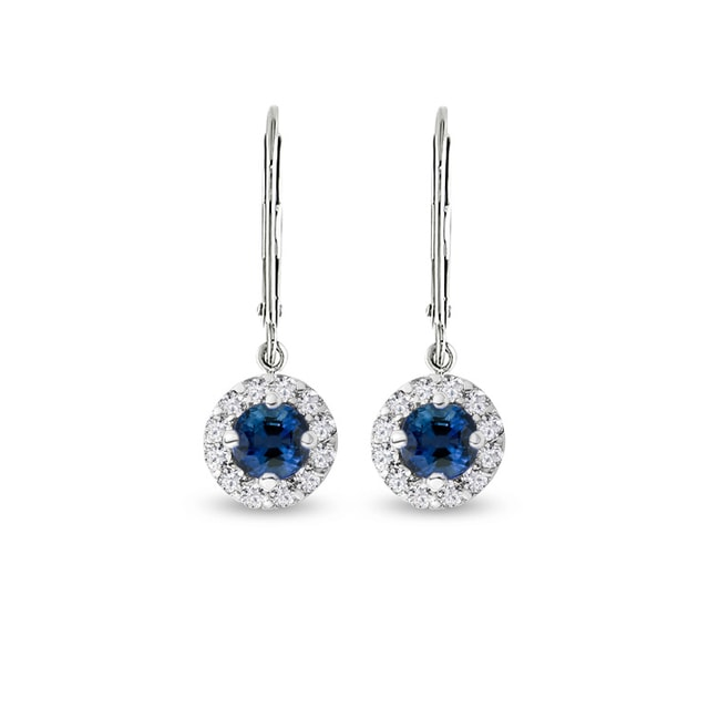 Earrings in white gold with sapphires and diamonds