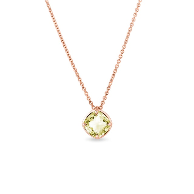 Collier en or rose avec quartz citron