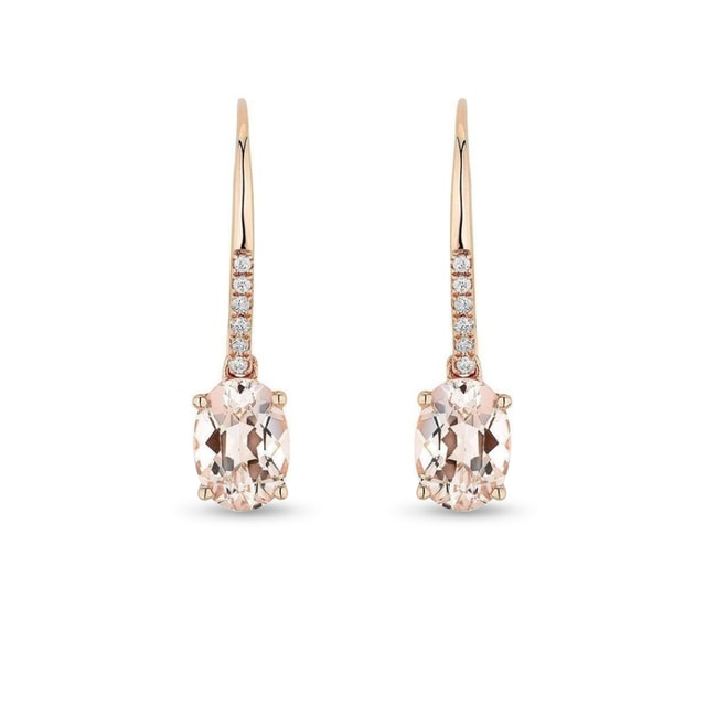 Morganite and diamond earrings in 14kt rose gold
