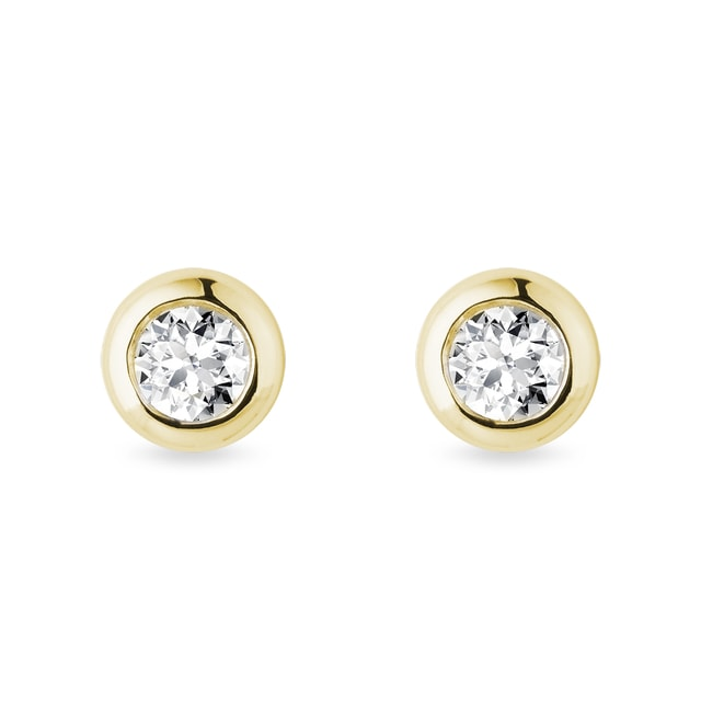 4.5 mm bezel diamond earrings in yellow gold