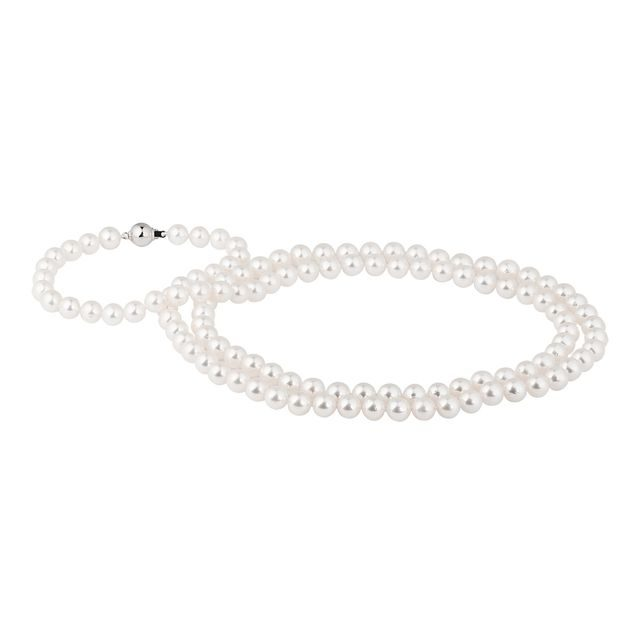 Long Akoya pearl necklace