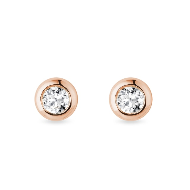 3.55 mm diamond bezel earrings in rose gold