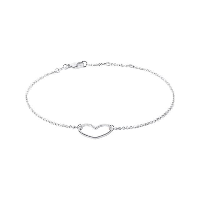 Heart bracelet in white gold