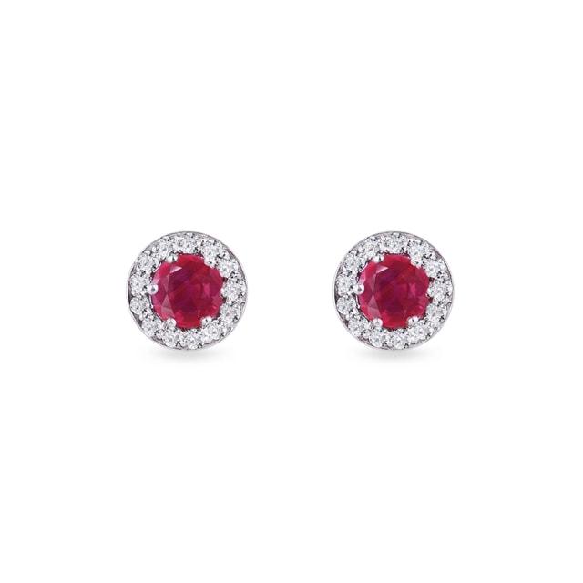 Ruby earrings in white gold