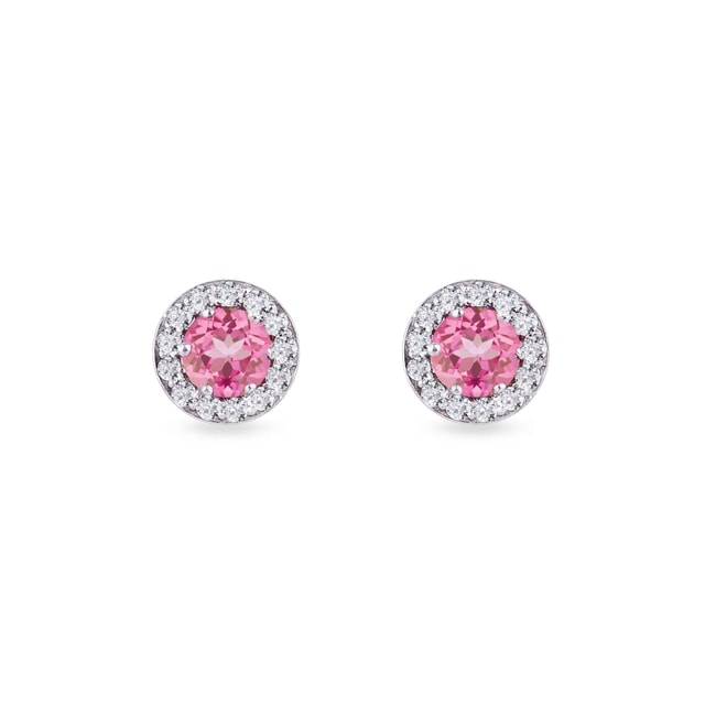 Pink sapphire and diamond earrings in white gold