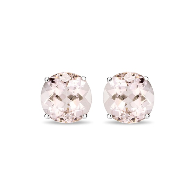 Morganite stud earrings in 14kt gold