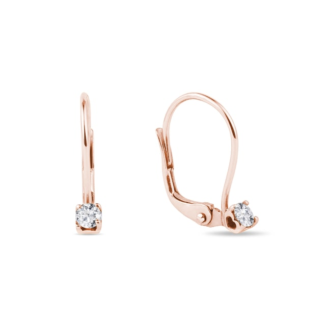 Earrings made of pink gold with diamonds