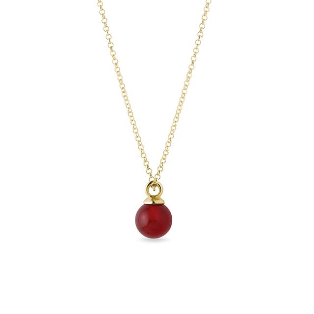 Carnelian necklace in yellow gold