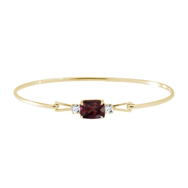 Garnet and diamond bracelet in yellow gold