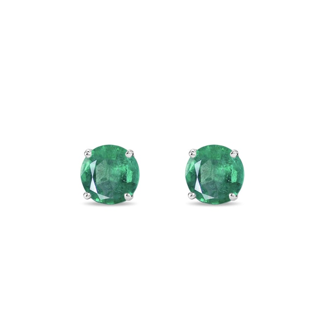 Emerald earrings in white gold